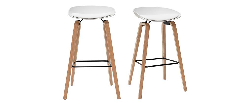 Gruppo di 2 sgabelli da bar bianchi e piedi legno 75 cm LINO