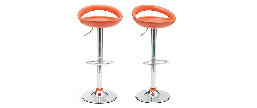 Gruppo di 2 sgabelli da bar COMET arancio