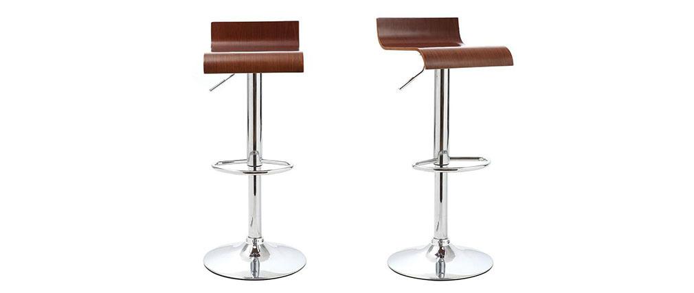 Gruppo di 2 sgabelli da bar / cucina design legno color noce SURF V2