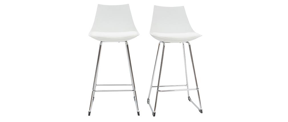 Gruppo di 2 sgabelli da bar design bianchi 65 cm JUNE