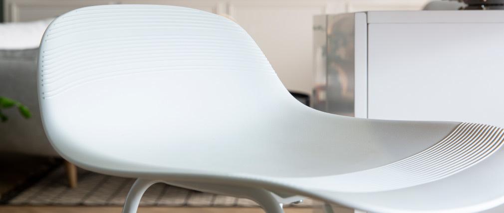 Gruppo di 2 sgabelli da bar design bianchi H65 cm ELLA