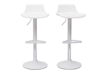 Gruppo di 2 sgabelli da bar design bianchi KRONOS