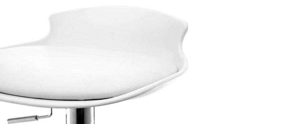 Gruppo di 2 sgabelli da bar design bianchi NOVA