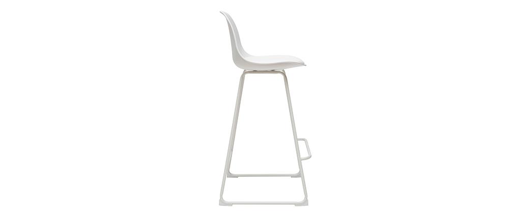 Gruppo di 2 sgabelli da bar design bianchi piedi metallo 65 cm FRANZ