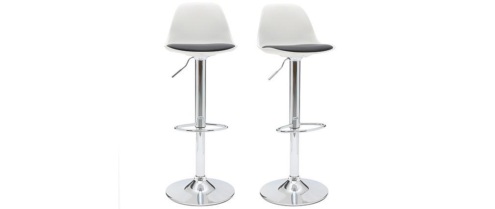 Gruppo di 2 sgabelli da bar design colore bianco e nero STEEVY