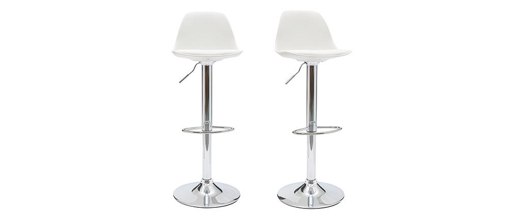 Gruppo di 2 sgabelli da bar design colore bianco STEEVY