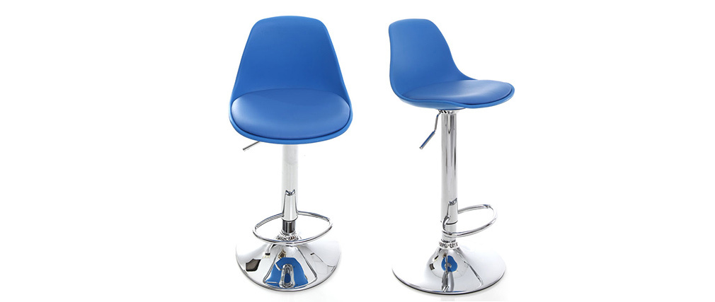 Gruppo di 2 sgabelli da bar design colore blu STEEVY