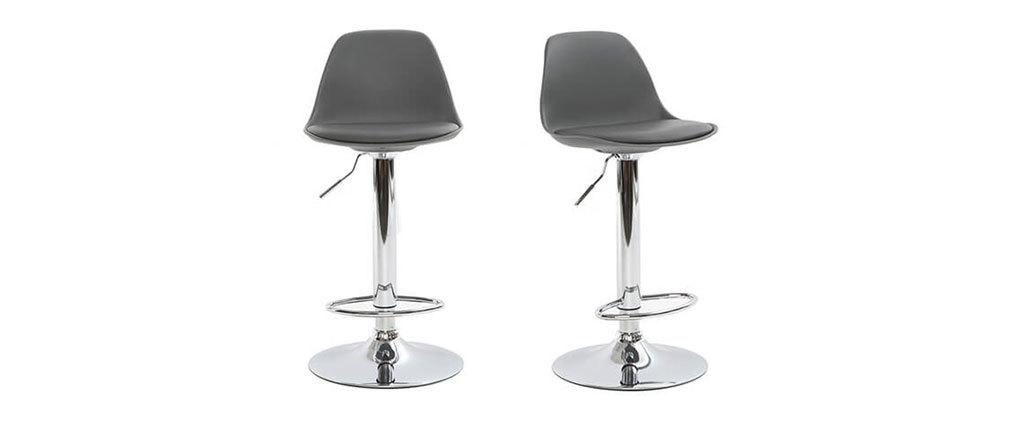 Gruppo di 2 sgabelli da bar design colore grigio STEEVY