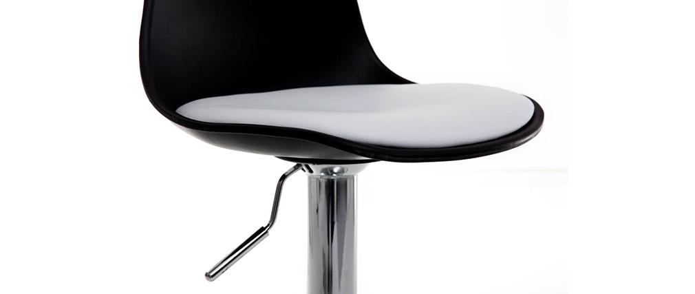 Gruppo di 2 sgabelli da bar design colore nero e bianco STEEVY