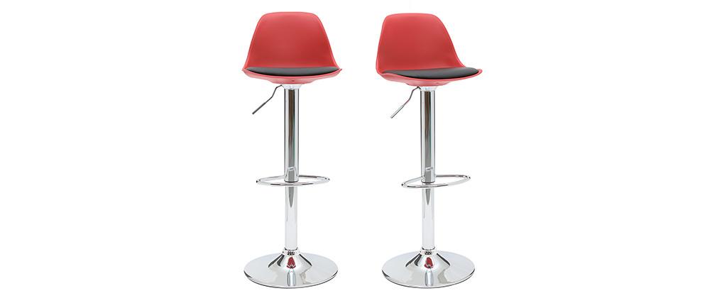 Gruppo di 2 sgabelli da bar design colore rosso e nero STEEVY