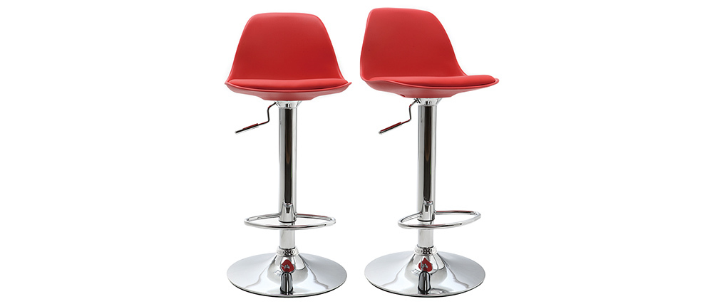 Gruppo di 2 sgabelli da bar design colore rosso STEEVY