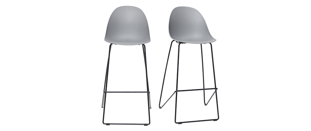 Gruppo di 2 sgabelli da bar design grigi 77 cm CONCHA