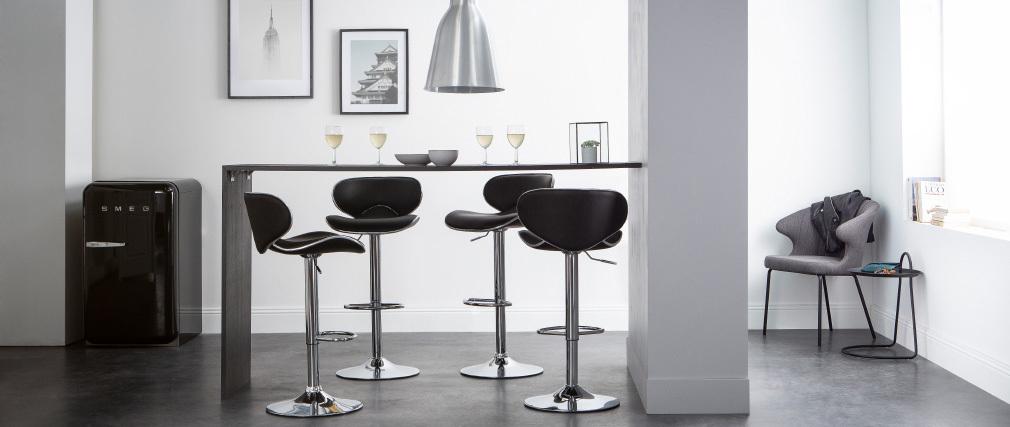 Gruppo di 2 sgabelli da bar design neri PEGASE