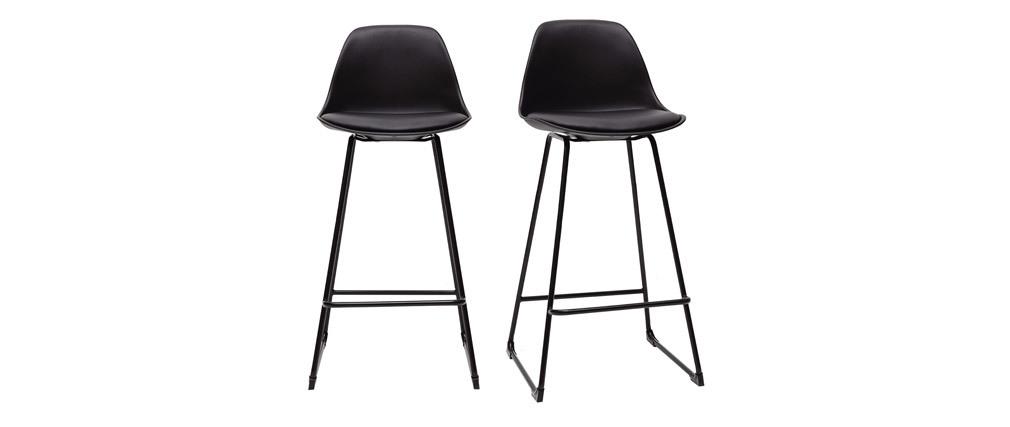 Gruppo di 2 sgabelli da bar design neri piedi metallo 65 cm FRANZ