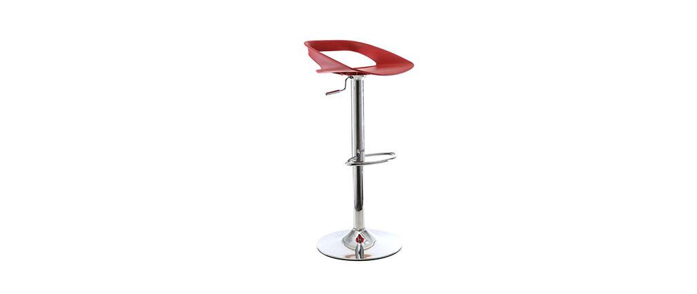 Gruppo di 2 sgabelli da bar design rossi PHENIX