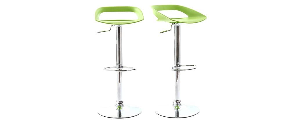 Gruppo di 2 sgabelli da bar design verdi PHENIX