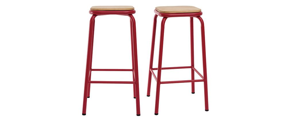 Gruppo di 2 sgabelli da bar impilabili rossi H65 cm MEMPHIS