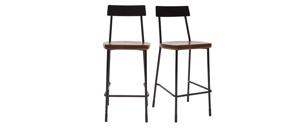 Gruppo di 2 sgabelli da bar industriali metallo e legno nero 65 cm OUDIN