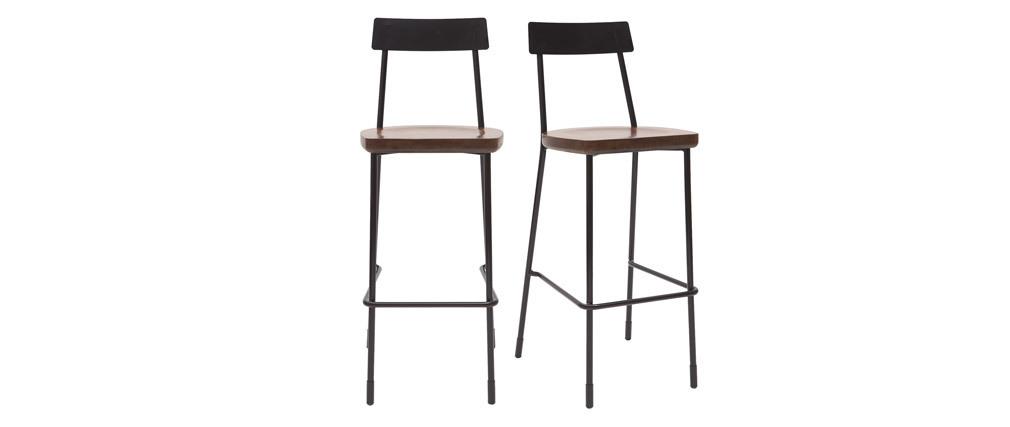 Gruppo di 2 sgabelli da bar industriali metallo e legno nero 75 cm OUDIN