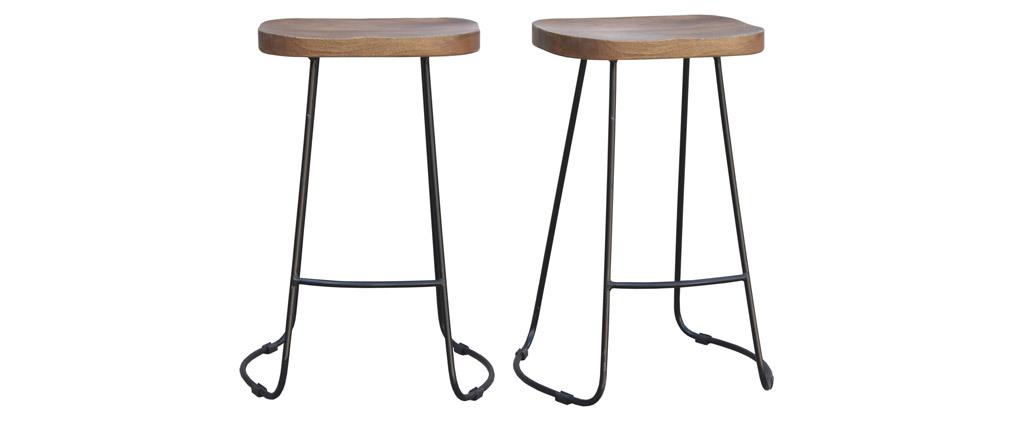 Gruppo di 2 sgabelli da bar metallo nero e legno H65cm RUNKO