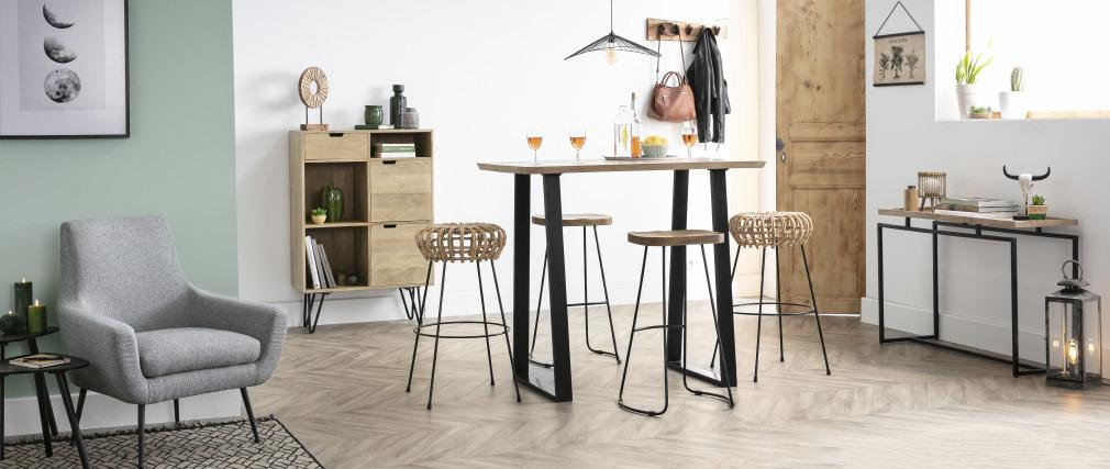 Gruppo di 2 sgabelli da bar metallo nero e legno H75cm RUNKO
