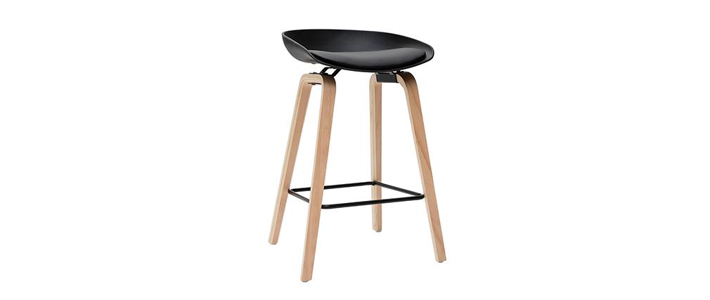 Gruppo di 2 sgabelli da bar neri e piedi in legno 65 cm LINO