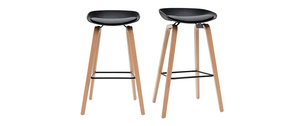 Gruppo di 2 sgabelli da bar neri e piedi legno 75 cm LINO