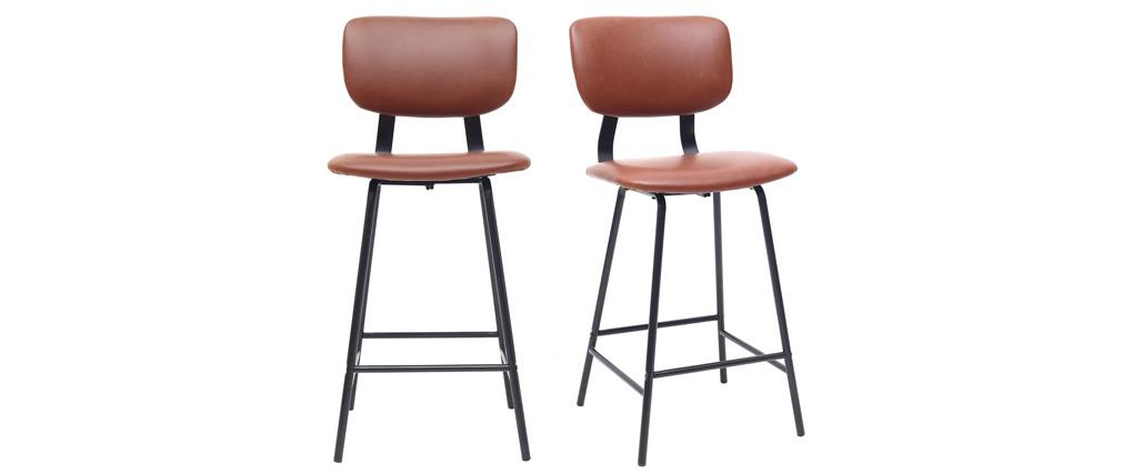 Gruppo di 2 sgabelli da bar vintage marrone chiaro con piedi in metallo 65cm LAB