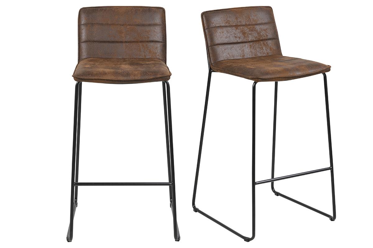 Gruppo di 2 sgabelli da bar vintage marrone CLINT