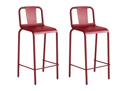 Gruppo di 2 sgabelli da giardino alluminio rosso 76cm RHODES
