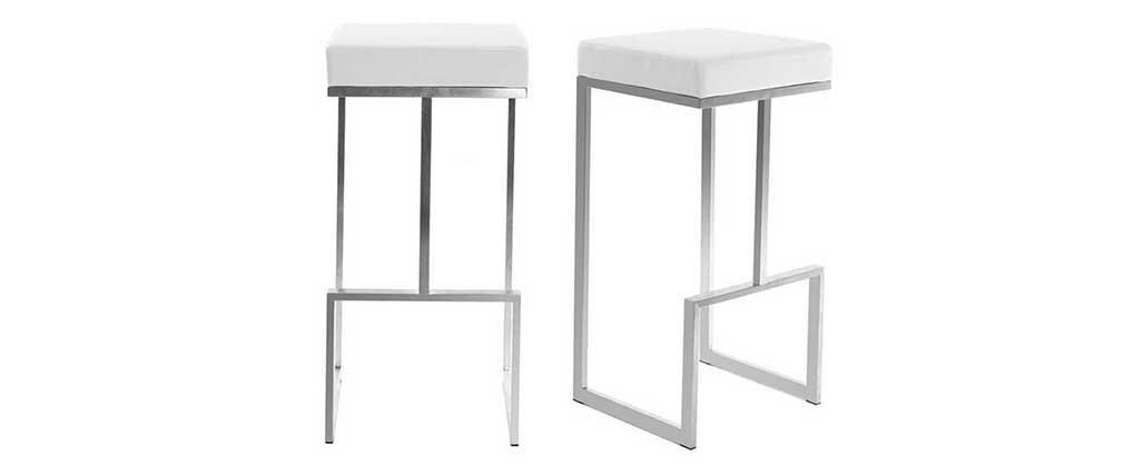 Gruppo di 2 sgabelli design bianchi Omicron