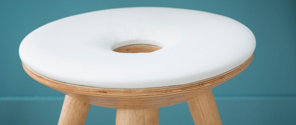 Gruppo di 2 sgabelli design legno naturale e bianco NORDECO