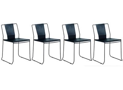 Sedie Da Giardino Economiche.Gruppo Di 4 Sedie Da Giardino Design Metallo Nero Tenerife