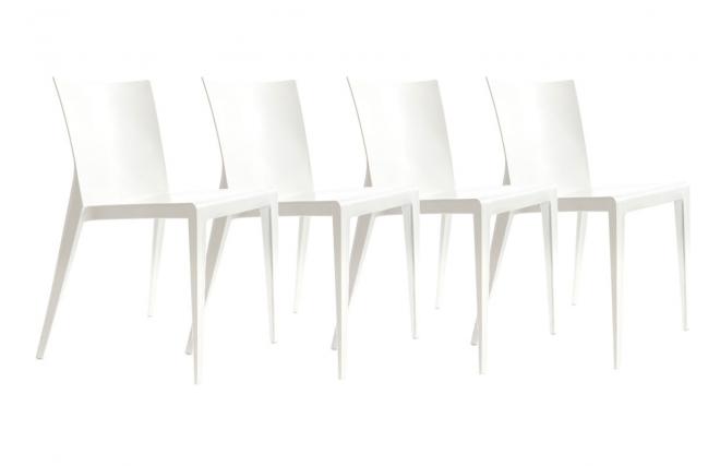 Gruppo di 4 sedie design bianche mindy miliboo for Sedie bianche design