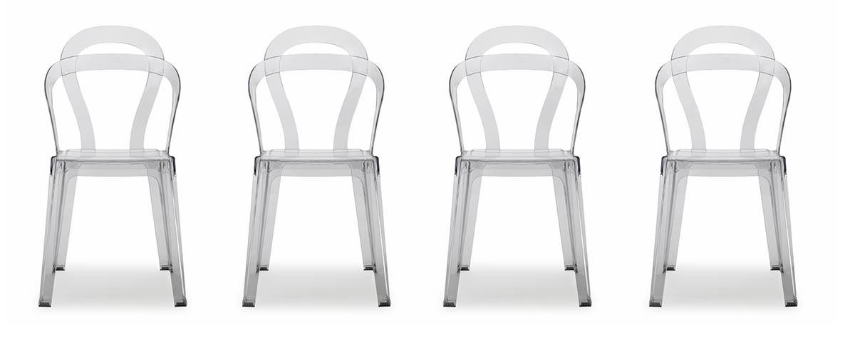 gruppo di 4 sedie design in policarbonato trasparente