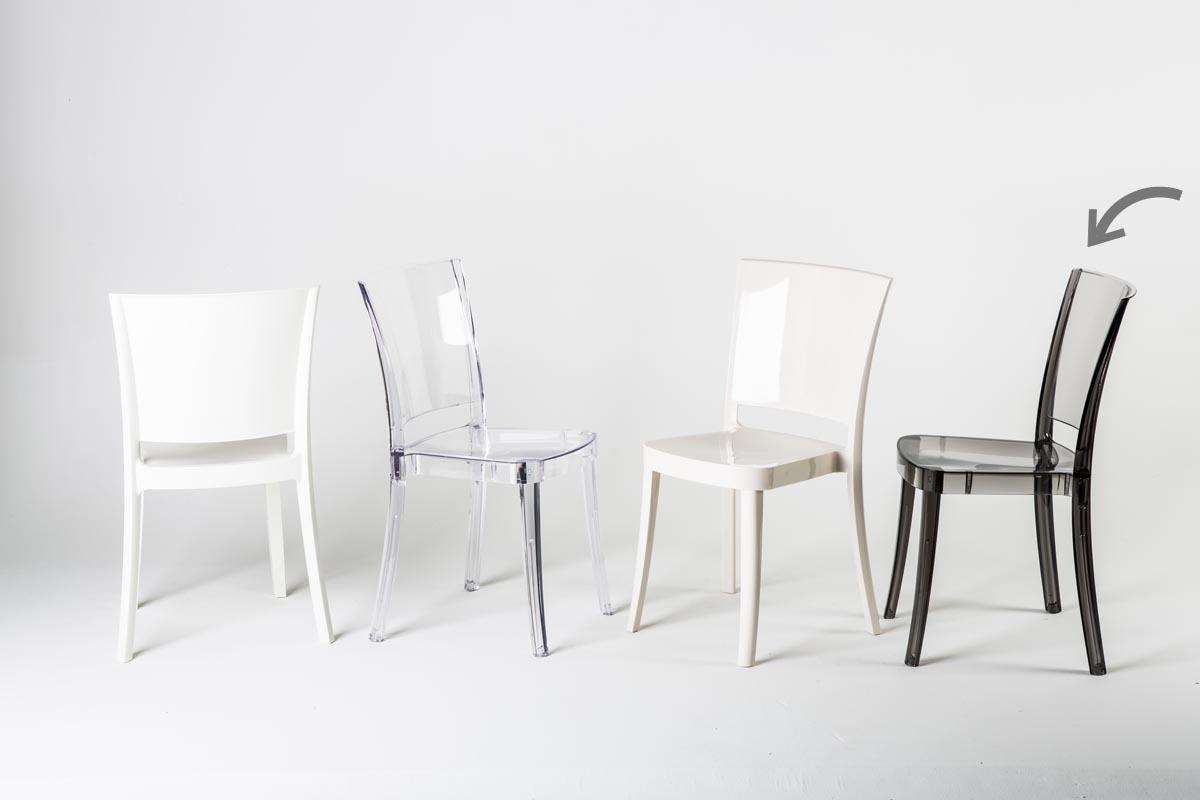 Gruppo di 4 sedie design in policarbonato trasparente for Sedie in policarbonato