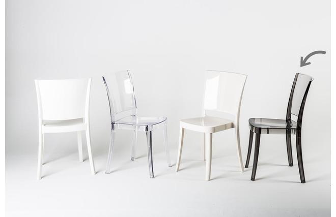 Gruppo di 4 sedie design in policarbonato trasparente grigio sfumato