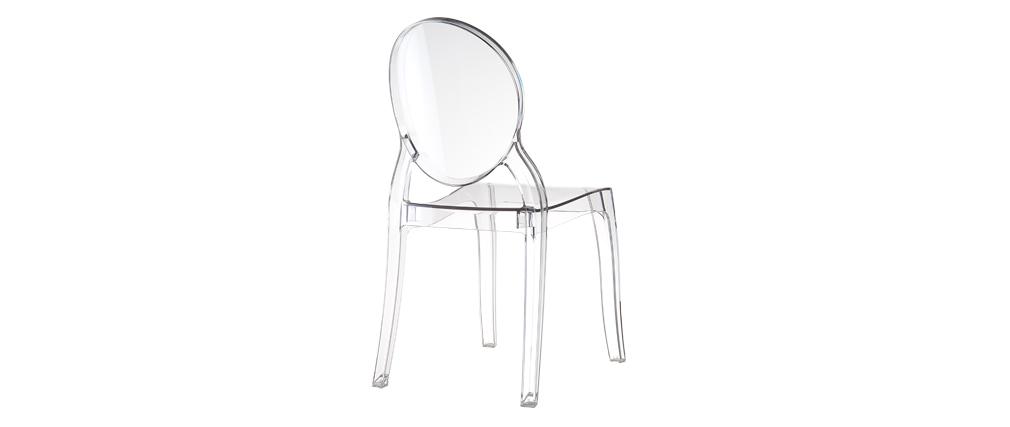 Gruppo di 4 sedie design medaglione trasparente LOUISON