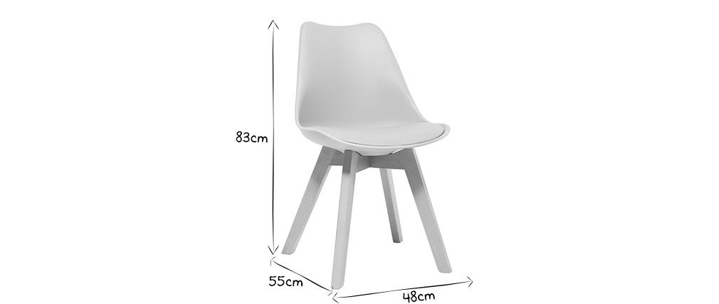 Gruppo di 4 sedie design piede legno seduta bianca PAULINE
