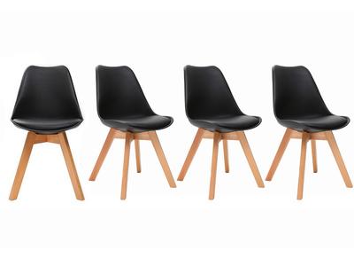 Gruppo di 4 sedie design piede legno seduta nera  PAULINE