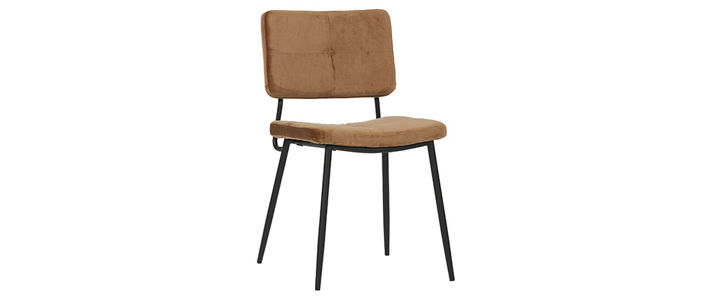 Gruppo di due sedie design in velluto cammello GAB