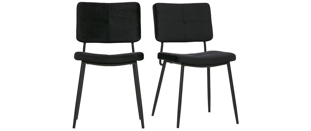 Gruppo di due sedie design in velluto nero GAB