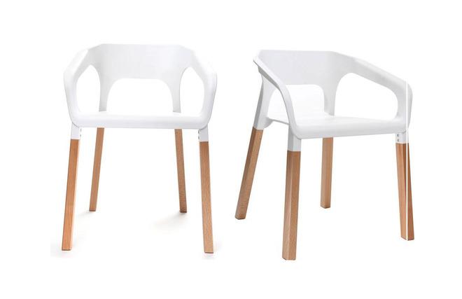 Sedie Bianche Design : Gruppo di due sedie design scandinave bianche helia miliboo