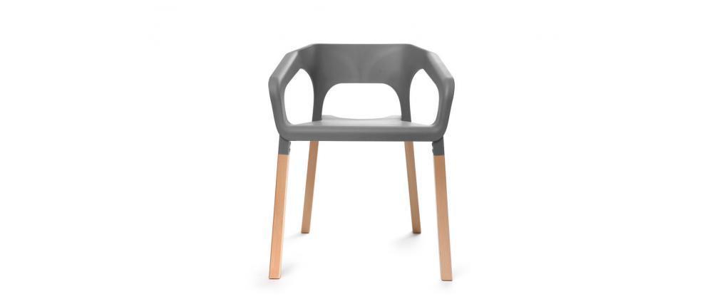 Gruppo di due sedie design scandinave grigie helia miliboo for Sedie moderne grigie