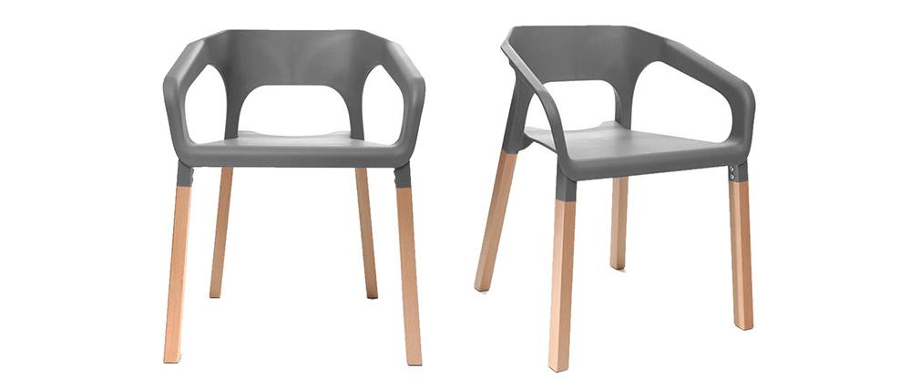 Gruppo di due sedie design scandinave grigie HELIA