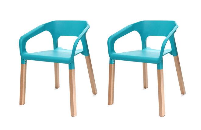 Gruppo di due sedie design scandinave turchese helia miliboo for Sedie turchesi