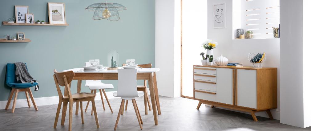 Gruppo di due sedie in legno seduta bianca - BALTIK