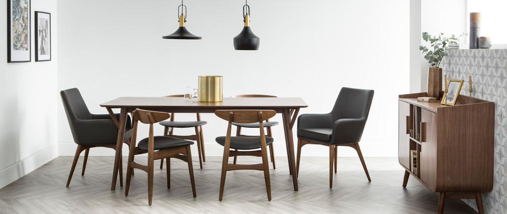 Gruppo di due sedie in noce e nero design WALFORD