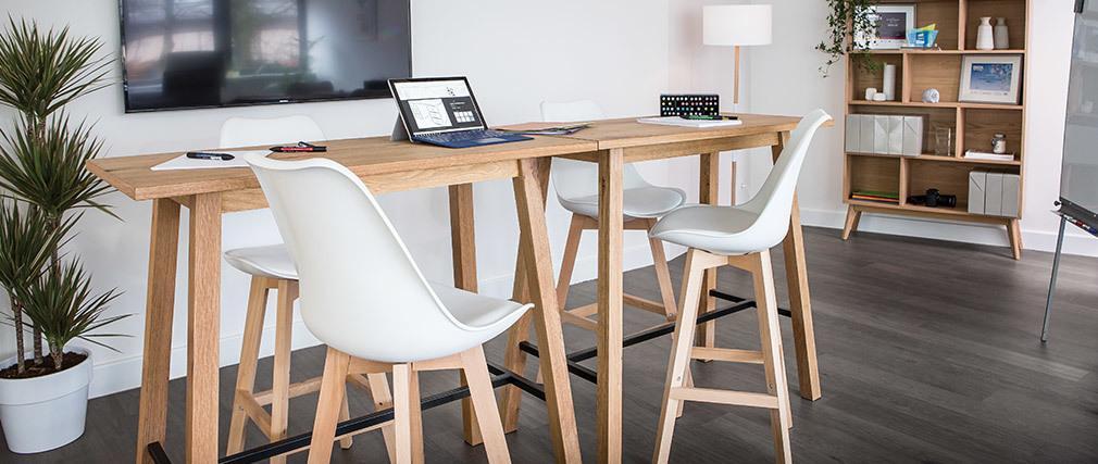 Gruppo di due sgabelli da bar design bianco e legno 65cm PAULINE