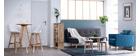 Gruppo di due sgabelli da bar design colore bianco e legno PAULINE
